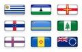 Set of world flags rectangle buttons Uruguay . Lesotho . Guernsey . Netherlands Antilles . Aruba . Norfolk Island . Faroe Island