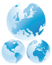 Set of world globes showing european african north and south american continents white background Stock Photography
