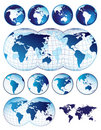 Set of world maps Royalty Free Stock Image