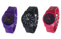 Set of wrist watches isolated on white purple black and red Royalty Free Stock Photos