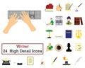 Set of 24 Writer Icons Royalty Free Stock Photo