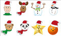 Set of x mas characters isolated christmas boy reindeer snowman ornament star bear and panda with santa s hat Stock Photography