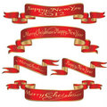Set of xmas,christmas new year banners ribbons Royalty Free Stock Images