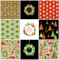 Set of xmas red and green backgrounds with snowflakes Royalty Free Stock Photo