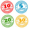 Set of years of experience stamps grunge rubber vector illustration Royalty Free Stock Images