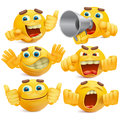 Set of yellow cartoon smiley emoticon characters