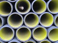 Set of yellow corrugated tubes Royalty Free Stock Photos