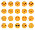 Set yellow emotions face. Set Japanese smiles. Round, yellow Kawaii face on a white background. Cute Collection emotions anime sty Royalty Free Stock Photo