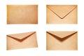 Set with 4 yellow envelopes Royalty Free Stock Photo
