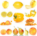 Set of yellow fruit, berries and  vegetables Stock Images