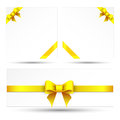Set yellow gift bows with ribbons on a white background Royalty Free Stock Photography