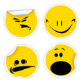 Set of yellow labels with smiles Stock Photo