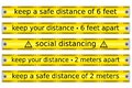 Set of yellow tape caution concerning social or safe distancing in a outbreak period vector isolated Royalty Free Stock Photo
