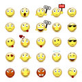 Set yellow smiley face with a different mood Royalty Free Stock Photo