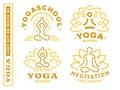 Set yoga logos - vector illustration, emblem on white background