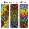 Set of yoga mat vector pattern with flower mandalas
