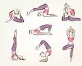 Set of yoga and pilates poses