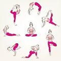 Set of yoga and pilates poses symbols