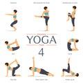 Set of yoga poses in flat design . Vector.