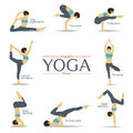 Set of yoga poses in flat design . Yoga infographics.