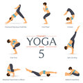 Set of yoga poses in flat design . Yoga infographics. Vector