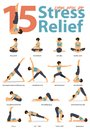 Set of yoga postures female figures for Infographic 15 Yoga poses for stress relieve in flat design.