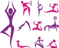 Set of yoga and sport icons hand drawn colored Stock Images