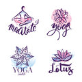 Set of yoga studio and meditation class logo, icons and design elements. Health care, sport and fitness design elements