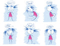 Set of young girl emotions.Vector doodle hand draw illustrations