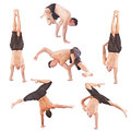 Set of young man acrobatics gymnastic Stock Image