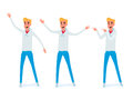 Set of young man character design. Happy young man in casual clothes in various poses.