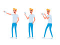 Set of young man character design.
