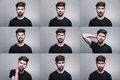 Set of young man's portraits with different emotions Royalty Free Stock Photo