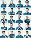 stock image of  Set of young man`s portraits with different emotions and gesture
