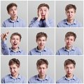 stock image of  Set of young man`s portraits with different emotions