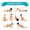 Set of young women in bikini sunbathing lying on the beach. Vect