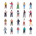 Set young women men in casual trendy clothes african american male female cartoon characters Royalty Free Stock Photo