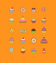 A set of yummy flat outlined icon vector illustrations of various kinds of sweets and desserts. It includes donuts Royalty Free Stock Photo
