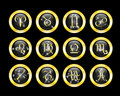 Set of zodiac buttons Royalty Free Stock Photo