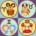 Set zodiac sign cartoon, Aries, Taurus, Gemini, Cancer. Painted funny astrological characters and symbols in a round frame multico Royalty Free Stock Photo