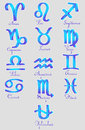 Set of zodiac sign icons vector blue Stock Images