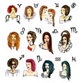 Set of zodiac signs in girls. Watercolor illustration  vector Royalty Free Stock Photo