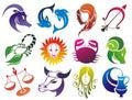 Set of Zodiac symbols Royalty Free Stock Photo