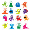 Seth bright funny cute monsters and aliens Royalty Free Stock Photo