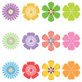 Seth colorful flowers. Vector illustration