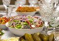 Setout greek salad close up on the festive table Stock Image