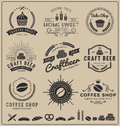 Sets of bake shop, craft beer, coffee shop logo and insignia for branding
