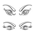 Sets of female eyes vector illustration fully editable eps file Royalty Free Stock Images