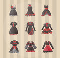 Sets of Gothic dresses Stock Image