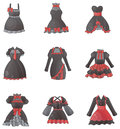 Sets of gothic dresses in white background create by vector Royalty Free Stock Image